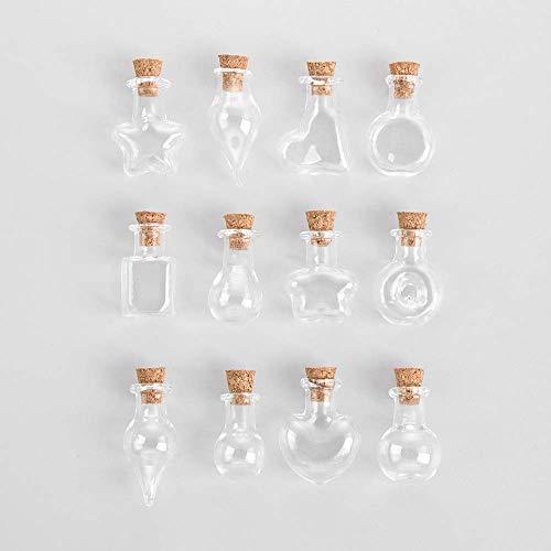 ZHONGJIUYUAN (13 tarros de corcho diferentes al azar con tapón de corcho pequeño vacío botella de vidrio pequeños con corcho decorativos para bodas, vacaciones, mini contenedores