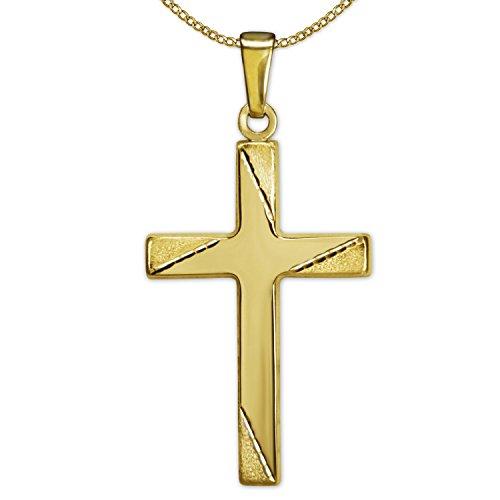 Clever sieradenset gouden hanger kruis 24 mm glanzend, kruisend zijdemat met 4 lijnen dwars gediamanteerd en ketting pantser 50 cm, beides 333 GOLD 8 KARAT