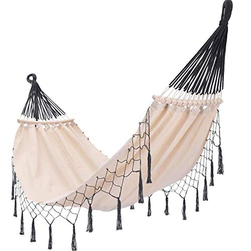 TOGNR Single Cotton Outdoor Hammock Multiples Load Capacity Up to 450 Lbs, Portable with Carrying Bag, for Patio Yard Garden.