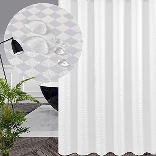 Swanson Duschvorhang in Weiß mit Duschringen. Antischimmel. Modern. Edel. 120/180/200 x 200 cm (180 x 200 cm)