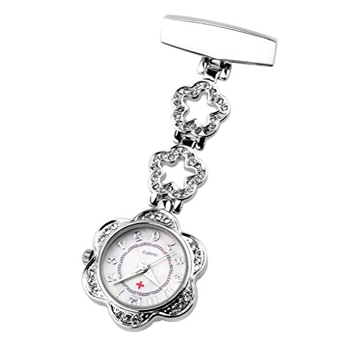 Reloj de Bolsillo de Enfermera con Broche con Clip de Cuarzo Y Flor con Diamantes de Imitación para Mujer - Plata