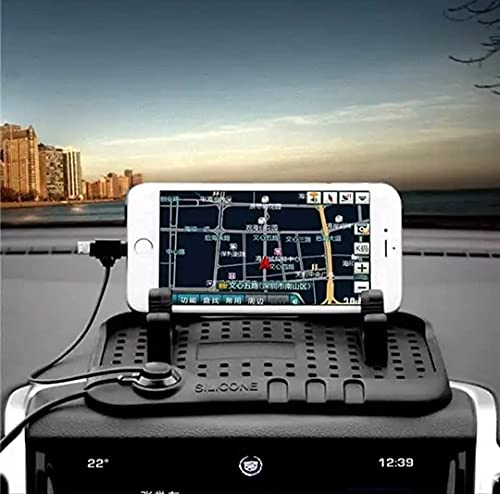 HOJI Multifunction Phone GPS Holder Anti-Slip Silicone Pad with Mobile Charger and Car Mobile Holders for Car Dashboard ( Pack of 1 ) Multi Color .