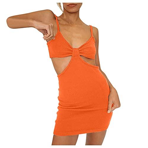 L9WEI - Vestido de fiesta para mujer, ajustado, sexy, cruzado, sin mangas, minivestido para mujer, monocolor, cuello en V, vestido de playa, vestido corto, Mujer, naranja, 34