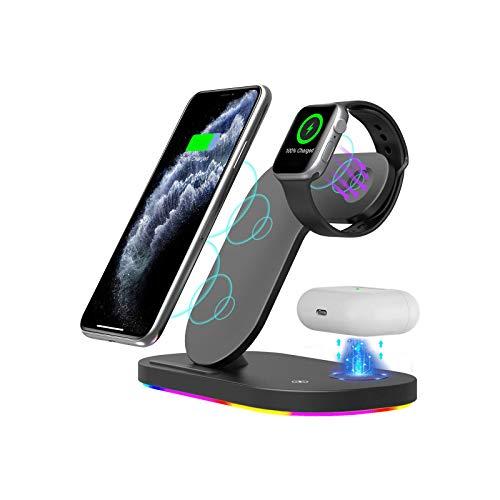 Adecuado para iPhone 12 Pro Max Iwatch Auriculares 3enFast Wireless Charger, Soporte de escritorio de carga inalámbrica, compatible con la base de carga rápida inalámbrica Qi