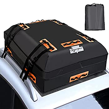 Rynapac Waterproof Car Rooftop Cargo Carrier Bag 15 Cubic Feet Soft Shell Car Roof Luggage Bag with 6 Reinforced Adjustable Straps and Storage Bag for Vehicle SUV with Racks  Black-Orange