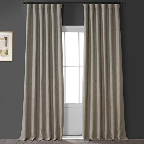 HPD Half Price Drapes BOCH-LN1857-96 Faux Linen Blackout Room Darkening Curtain (1 Panel), 50 X 96, Oatmeal