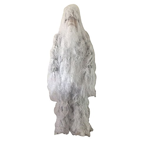 Photo of person wearing white colored LOOGU Snow Camo Ghillie Suit