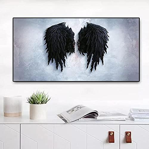Modernas asas de anjo Pintura em tela de pena preta Cartazes e impressões escandinavos Arte de parede em estilo nórdico Imagem para sala de estar 40X60cm Sem moldura