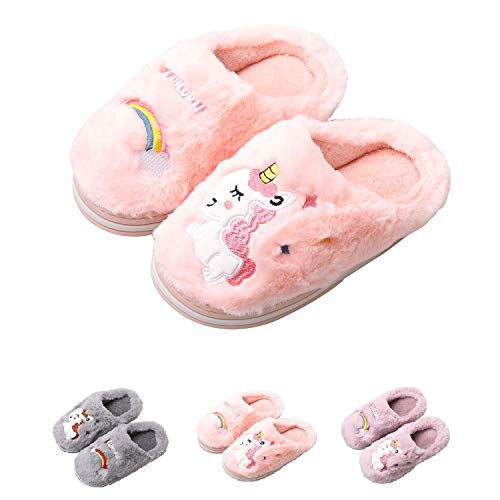 HausFine Pantofole da casa per Bambine Bambini Inverno Morbido Peluche Unicorno Pantofole Comode e Calde Antiscivolo Pantofole per Felice Natale (30-31 EU, Rosa)
