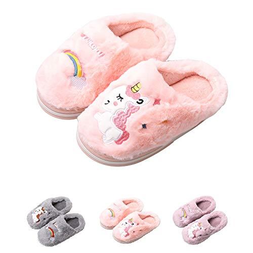 HausFine Zapatillas de Estar por Casa para Niñas Niños Invierno Zapatillas de Unicornio Interior Casa Caliente Pantuflas Suave Calentar Antideslizante Slippers (28-29 EU, Rosado)
