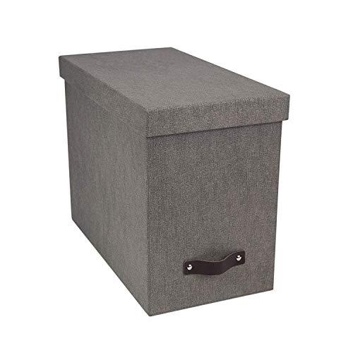 Bigso Box of Sweden Hängeregisterbox mit Deckel – stilvolle Archivschachtel inklusive 8 Hängehefter – Hängemappenbox aus Faserplatte und Papier in stilvoller Leinenoptik – grau