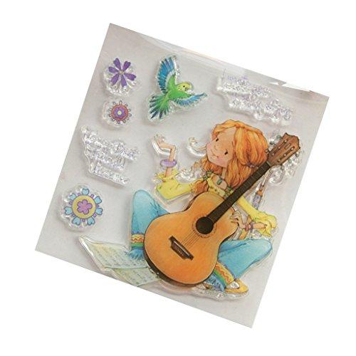 Eliky Girl Bird Silikon-Stempel für DIY Album, Scrapbooking, Fotokarten, Dekoration