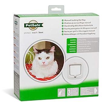 PetSafe Chatière à verrouillage manuel pour chat, installation facile, verrouillage manuel à 4 voies, pour chats jusqu'à 7 kg, économe en énergie, adaptable, accessoires disponibles, plastique blanc