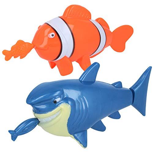 com-four® 2X Badespielzeug für Jungen und Mädchen, Wasserspielzeug zum Aufziehen ideal in der Badewanne oder Pool (02 Stück - Clownfisch/Haifisch)