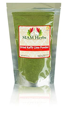 SIAM Herbs : Kaffir Lime Leave Powder 2.35 oz. | Premium Gourmet Ingredient for Thai & Asian Cuisine |Rich Green Color and Extremely Aromatic (Makrut Leaves)
