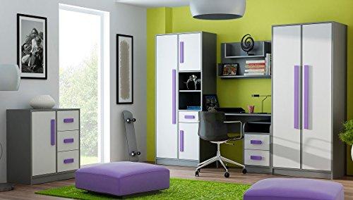 QMM TraumMöbel Jugendzimmer Kinderzimmer komplett Grant Set A in 5 Farben Schrank chreibtisch Kommode Regale NEU