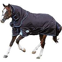 (ウェザビータ) Weatherbeeta 馬用 Comfitec ミディアム ウルトラCozi ネックが取り外せる ターンアウトラグ 馬用 乗馬 ホースライディング (6フィート 3) (チャコール/ブルー/ホワイト)