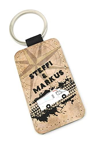 Schlüsselanhänger mit Reifenspur und Wohnmobil mit Namen personalisiert. Treuer Reisebegleiter für alle Camper und Campingliebhaber. Prima Geschenk!