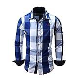 Camisa para Hombre a Cuadros de Manga Larga Casual Button Down Bolsillo Regular fit White Blue XXL