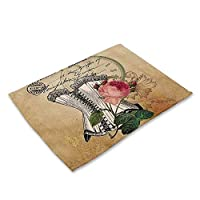 ランチョンマット 食事マット テーブルマット プレイスマット 滑り止め 断熱 防汚 シンプル 北欧 可愛い おしゃれ 子供用 家庭用 レストラン用 食卓飾り 綿麻 四枚セット/六枚セット#95 (色 : 1, サイズ : 4pc)