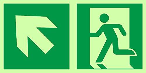 Anro Warnschild für Notausgang E001/3 | Nachleuchtendes PVC Sicherheitsschild Fluchtweg | Selbstklebend Rettungsweg-Schild für Betriebe, Produktion & Kliniken | Farbe: Grün