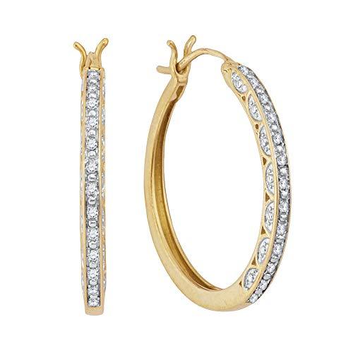 Saris and Things 10k oro amarillo redondo para mujer del aro del diamante pendientes 1/6 cttw