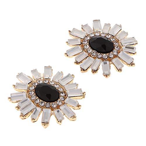 Hellery 2/4 Botones de Adornos de Espalda Plana de Perlas de Cristal Brillante Decoración de La Caja Del Teléfono DIY - tal como se describe, 2.2cm