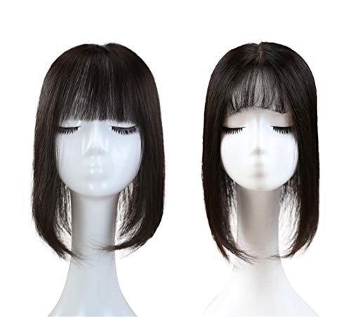 Grands Hauts de Forme de Base de Cheveux en Soie avec Frange Plate, Agrafe Naturelle de 14\