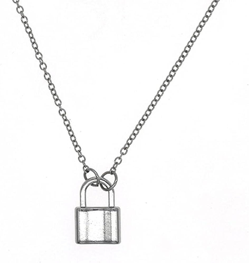 Women Exquisite Necklace Lock Pendant Necklaces Chain Collares Statement Padlock Choker Charm Necklace Jewelry 50cm