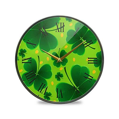 Arte De Hoja Verde Arte Reloj de Pared Silencioso Decorativo Relojs para Niños Niñas Cocina Hogar Oficina Escuela Decoración