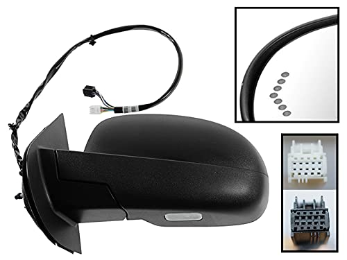 APA Replacement Power Folding Mirror for 2007-2014 SILVERADO SIERRA YUKON TAHOE SUBURBAN AVALANCHE Heated Memory Signal Puddle Light Textured Cap Driver Left Side GM1320324