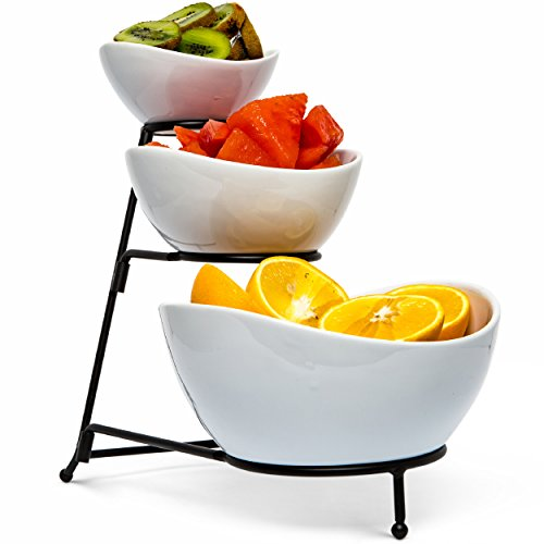 Food Serving Bowl Set: 3 Tier Metal Display Stand with 3 White Stoneware Bowls   Dessert and Snack Server by Chef's Medal