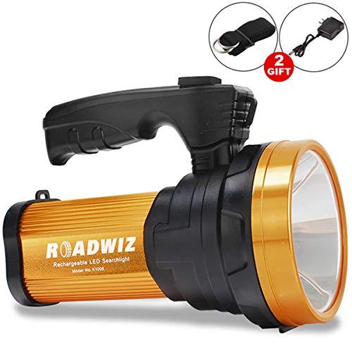 Roadwiz Torcia LED per torcia ricaricabile ad alta potenza 6000 Lumens portatile super luminoso impermeabile IPX4 Proiettore LED Searchlight Spotlight