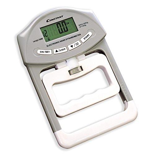 Constant Dynamomètre à main numérique 90 kg - Mesure de la force de prise en main - Prise en main automatique - Gris