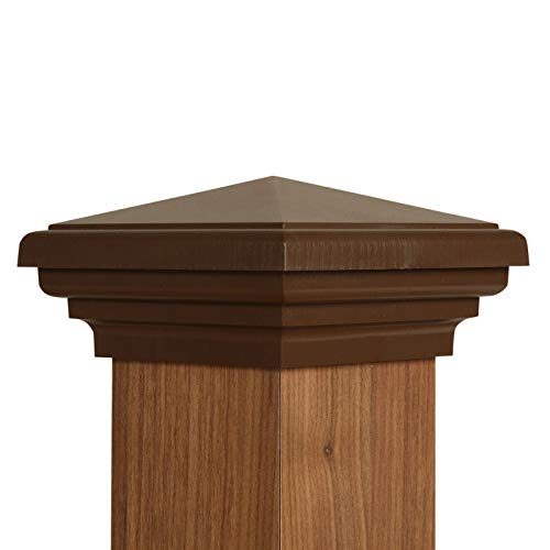 ATLANTA POST CAPS 4x4 Post Cap (3.5') | Brown New England Pyramid Style Square Top for Outdoor Fences, Mailboxes & Decks