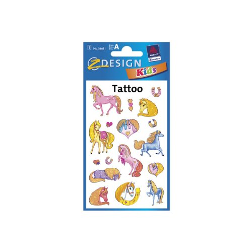 AVERY Zweckform 56681 Tattoo Kinder 17 Stück (Temporäre Tattoos Pferde, Kinder Tattoo wasserfest, Klebetattoos, Kindergeburtstag, Mitgebsel, Partyspiele Preise, Kinder zum Spielen, Tattoo Mädchen)