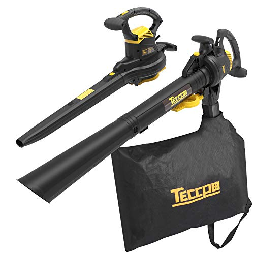 Leaf Blower Vacuum, TECCPO TABV01G 12-Amp 250MPH 410CFM 3 in 1 corded electric Two-Speed Sweeper/Vac/Mulcher, Plastic Impeller Metal Blade, Ideal for Lawn and Garden