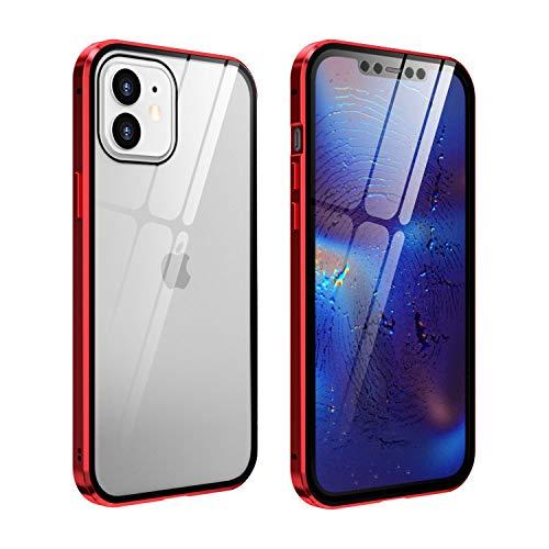 FHZXHY - Carcasa para iPhone 12 Mini de cristal, transparente, doble cara,...