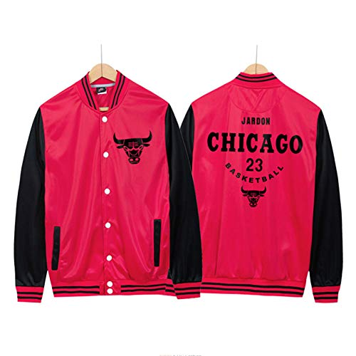 Michael Jordan Männer Basketballjacke Baseball Uniform, Chicago Bulls 23# Youth Icon Edition Swingman Jacke, ideal für Outdoor-Sport Party-Feier (M-4XL) red1-4XL