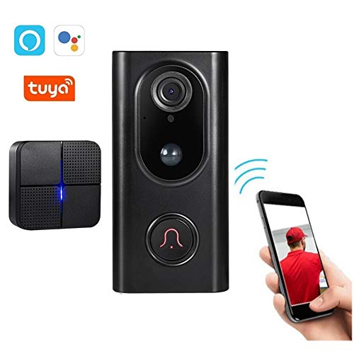 Video Türklingel, Tuya Alexa Google Home Tosee Plus Smart Life APP WiFi Intercom Drahtloses Video Türtelefon, PIR Nachtsicht-Überwachungskamera,D + chime