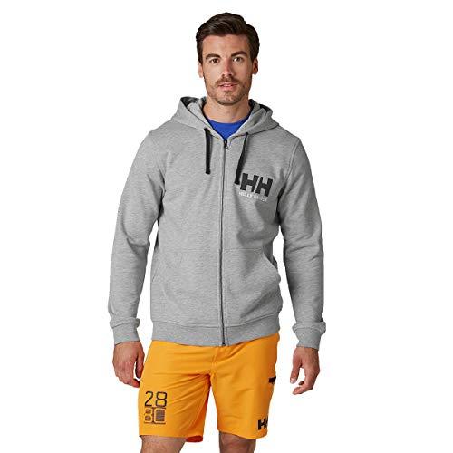Helly Hansen Herren Hh Logo Full Zip Hoodie, Grey Melange, M