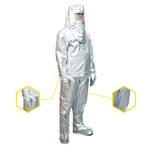 MXBAOHENG Heat Resistant Suit Anti Thermal Radiation Suit 1000-1200 degree Fireproof flameproof Composite Aluminium Foil Firefighter Uniform(L)