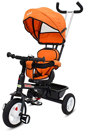 Baybee Mario Sportz - The Stylish Plug and Play Baby Tricycle with Canopy and Parent Control with Reversible Seat ( (Now with Rubber Wheels) ( Orange )