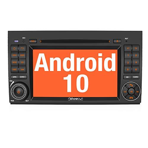 Vanku Android 10 Autoradio für Mercedes-Benz Radio mit Navi CD DVD Player Unterstützt Qualcomm Bluetooth 5.0 DAB + Android Auto WiFi 4G 2 Din 7 Zoll Bildschirm