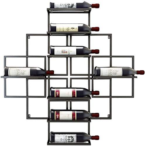 TUHFG Botellero de pared para botellas de vino – Capacidad para 8 botellas de vino – Color negro, 80 cm de almacenamiento