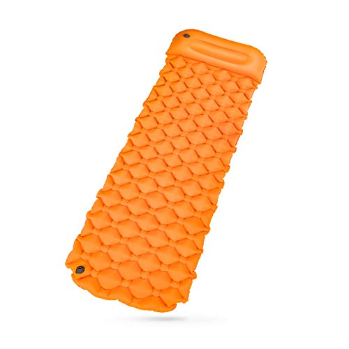 S.Y Sleeping Pad Camping Mat Ultralight Outdoor Indoor Inflatable Air Mattress TPU Inflating Travel Air Bed for Camping, Backpacking & Hiking, Hammock, Tent & Cot - Orange