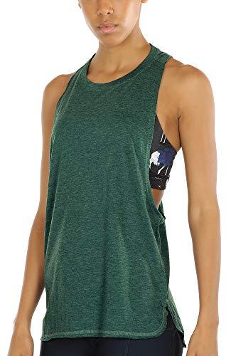 icyzone Sueltas y Ocio Camiseta sin Mangas Camiseta de Fitness Deportiva de Tirantes para Mujer (S, Ejercito Verde)