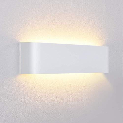 Lightess 12W LED Lampada da Parete Interno Moderno Applique da Parete in Alluminio Lampada da Muro per Corridoio Scale Camera da Letto Bianco Caldo