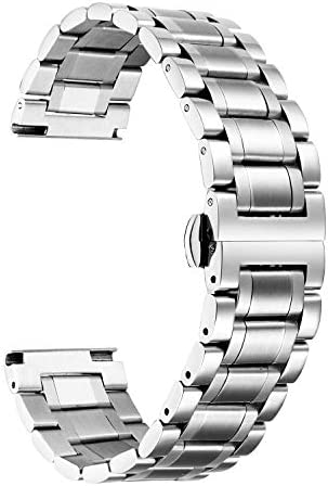 BINLUN Stainless Steel Watch Bands with Straight & Curved End 5 Color(Gold, Sliver, Black, Rose Gold, Gold-Silver Two Tone) 9 Size(12mm to 24mm) Valentine Gifts