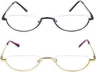 Reading glasses Metalen halve frame, mannen en vrouwen halve maan bril (2 stuks), anti-vermoeidheid optische bril, draagba...